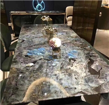 Table Top Volga Labradorite Lemurian Blue Granite