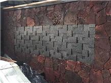 China Hainan Black Basalt Honed Culture Stone Wall