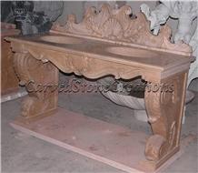 Royal Beige Marble Pedestal Vanity Top Unit