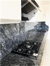 Black Olive Marble Kitchen Counter Top, Mugla Black Marble Top