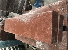 Red Porphyry Flamed Curbs in Size 10x25x100cm