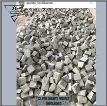 Silver Grey Granite Design Cobblestone, Landscaping Stones Pavers(Flamed,Unpolished& Cubic)