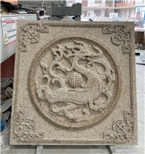 Gold Granite Wall Stone Relief Carving Paving