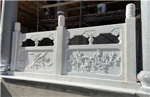 White Marble Fence Barrier Carved Terrace Handrail