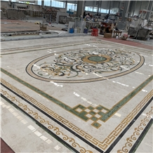 Interior Marble Water Jet Pattern Medallion Floor