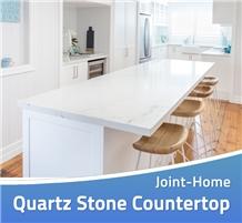 Carrara White Quartz Countertops with Grey Veins