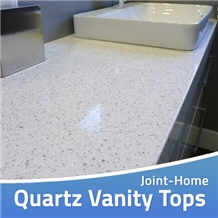 Crystal White Quartz Custom Bathroom Worktop Tops