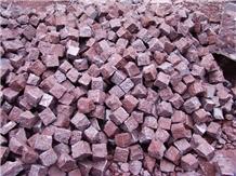 Porphyry Red Porfido Cubes, Pavers, Lanscape