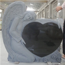 Shanxi Black Granite Headstone with Angel Heart