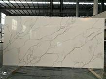 Classy White Calacatta Quartz Slabs&Tiles