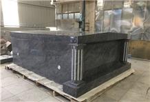 Bahama Blue Granite Two Crypt Side Mausoleum