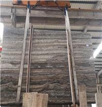 Cheap Silver Grey Travertine Slab Flooring Tiles