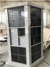 Light Gray with Black Doors Columbarium Mausoleum