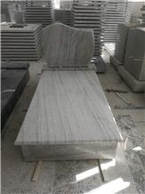 New China Viscount White Grey Granite Tombstone
