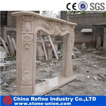 Beige Polished Marble Fireplace Cover Surround