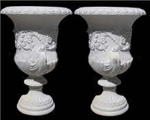 Cheap Hand Carved Garden Marble White Flower Pots