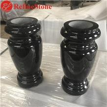 Cheap Shanxi Black Granite Grave Headstone Vases