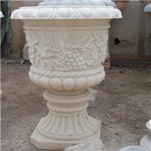 Cheap White Marble Outdoor Flower Pot for Garden