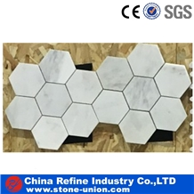 Hexagon Mosaic Tiles,Bianco Carrara Mosaic
