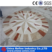 Mixed Marble Round Mosaic Water Jet Medallions