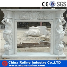 Pure White Marble Handcarved Sculptured Fireplace