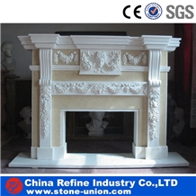 Pure White Marble Sculptured Decoration Fireplace