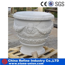 Round Hand Carved Relief Flower Pot and Planters