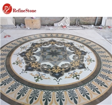 Round Modern Mixed Marble Waterjet Medallion