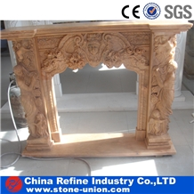 Sunset Red Polished Carving Sculptured Fireplace