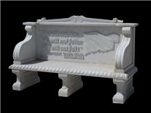 White Marble Outdoor Garden Table & Carving Bench