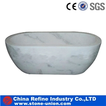 White Marble Oval Bath Hand Carved Tub Surrounds