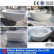 White Marble Sculptured Hand Craft Marble Bathtubs