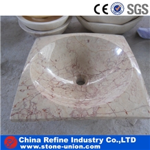 White Marble with Red Veins Vessel Basins