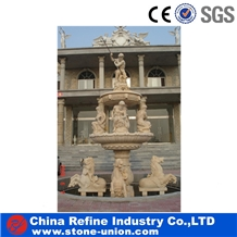 Yellow Sandstone Decorative Carving Fountain