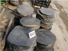 Black Slate Round Garden Stepper Stone Paver
