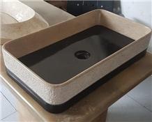 Lapis Marble Vessel Sink- Java Beige Marble Rectangle Basin