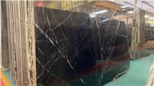 China High Grade Black Nero Marquina Marble Slabs