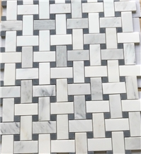 White Marble Basketweave Black Stone Mosaic