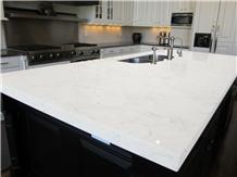 Carrara White Artificial Quartz Kitchen Countertop, Island Top