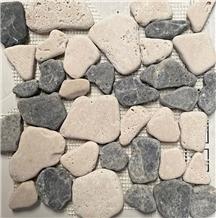 Marble Pebbles Mosaic, Dark Emperador Marble Tumbled Pebble Mosaic Tiles