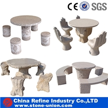 China Nature Stone Beige Outdoor Table and Bench