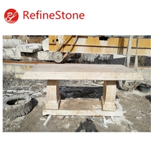 Chinese Large Outdoor Carve Beige Travertine Bench