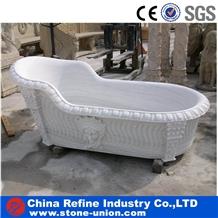 Pure White Marble Polished Stone Bathtub Surround