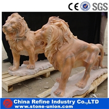 Red Marble Lion Statue, Lion Statue Outdoor