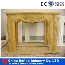 Yellow Marble Fireplace,Natural Marble Fireplace