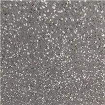 Grey Quartz Chips Terrazzo Tile Floor Pattern, Wall Panel
