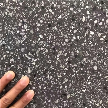 Honed Black Terrazzo Tile Floor Paving Project, Cement Stone