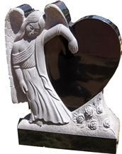 Angel Heart Shape Headstone Gravestone