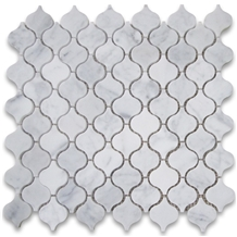Carrara Lantern Shaped Arabesque Mosaic Tiles