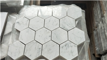 Carrara White Marble Hexagon Mosaic